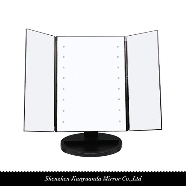 Tri-Fold LED Vanity Mirror 1X magnification