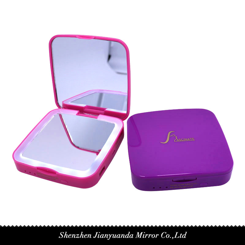 Dual-sided Square shape LED Travel mirror with 3000mAh power bank