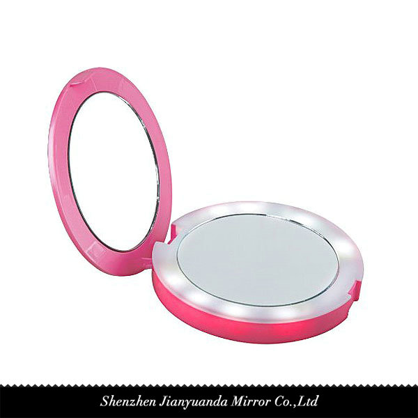 Dual-sided Round shape LED Travel mirror with 2600mAh power bank