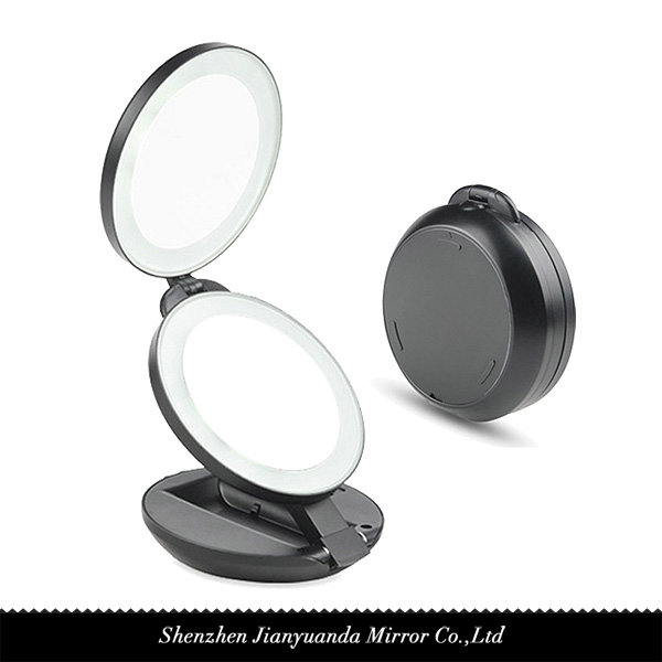 Dual-sided Foldling LED Lighted Mirror 1X/5X magnification