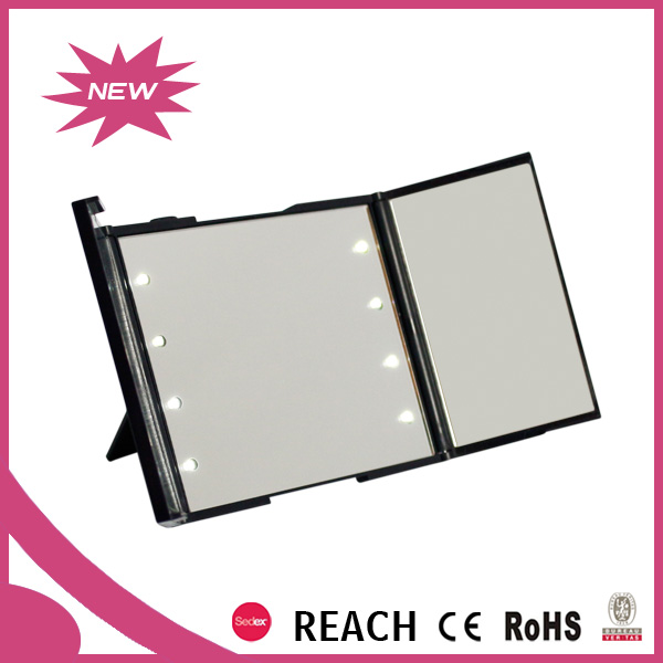 LED small tri-fold pocket mirror with 2x magnification