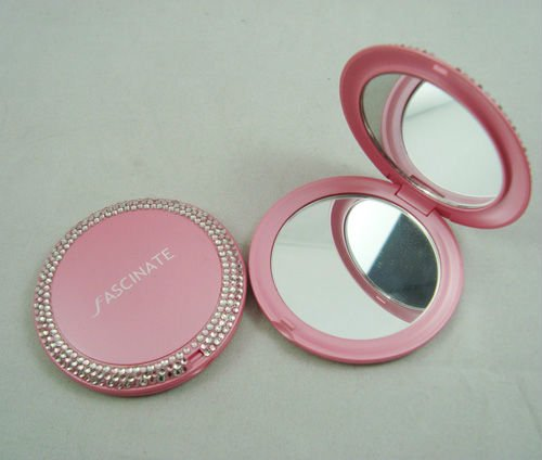 double side plastic folding round pocket cosmetic mirror