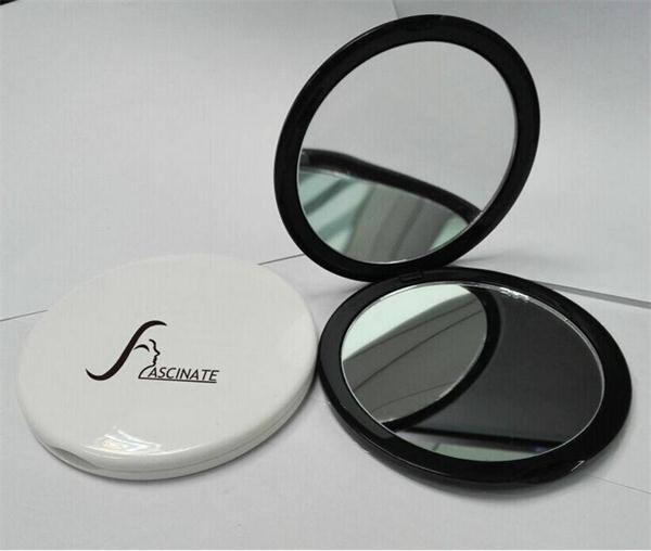 plastic small round double side pocket mirror