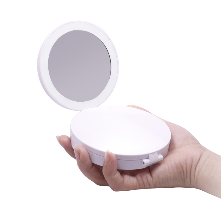 Tri-folding small size led lighted with magnification mirror for travel