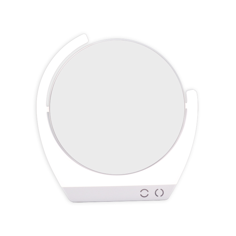 Round shape 7X magnifying rechargeable led lighted makeup mirror
