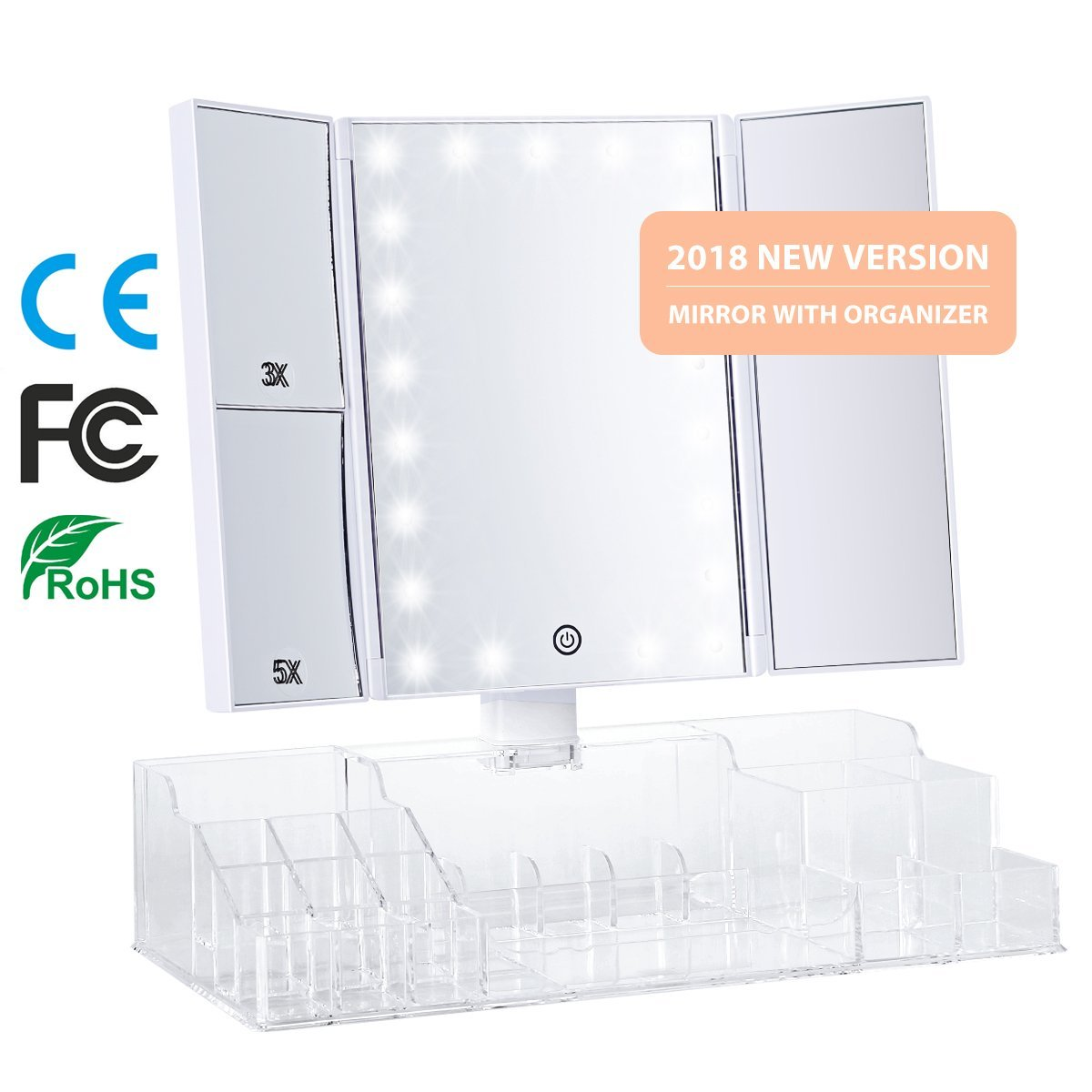 Three sides foldable led lighted vanity mirror with organzier