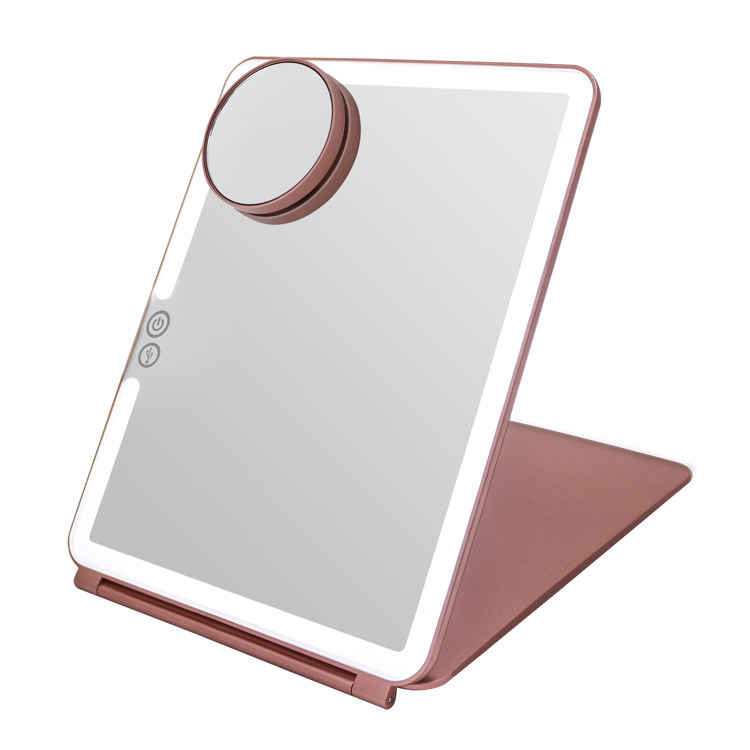 One side rechargeable led travel mirror