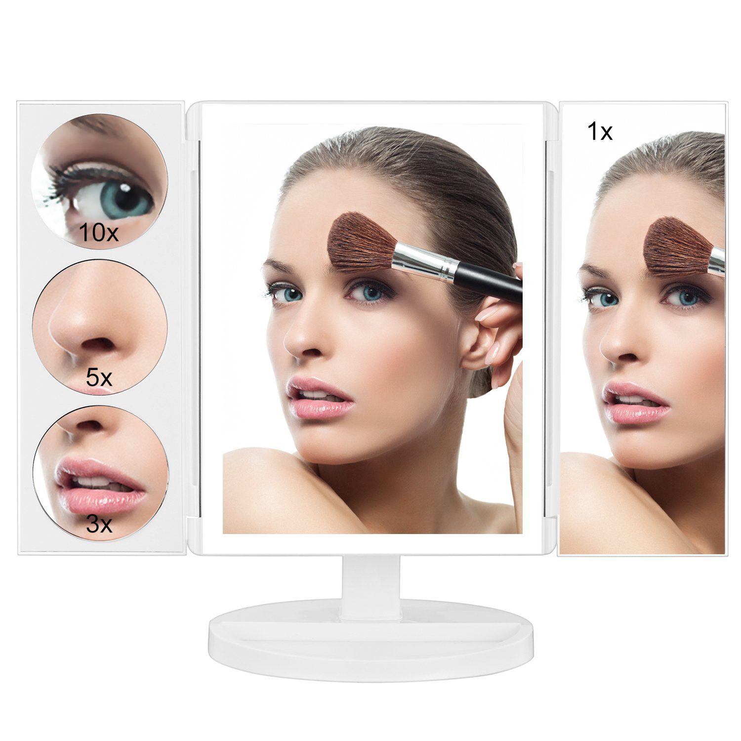 Tri-fold style 3X/5X/10X magnification led vanity mirror