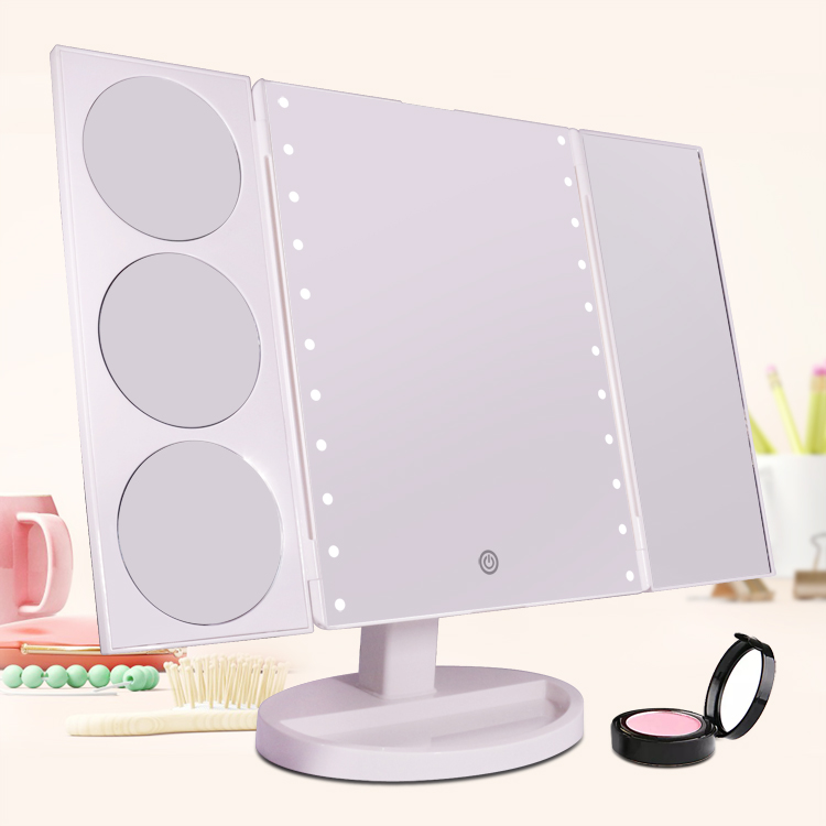 Dot lighting tri-fold lighted vanity mirror
