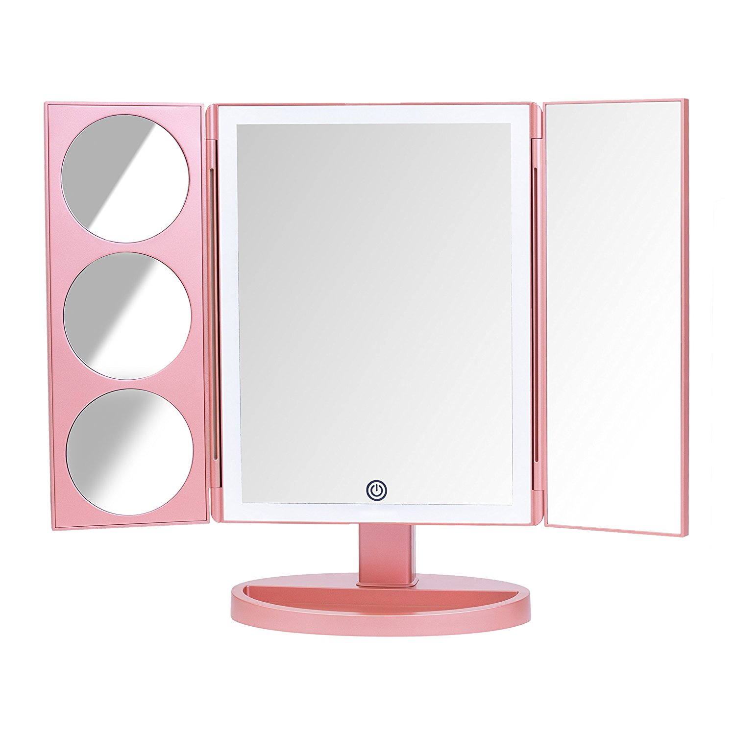 Three ways 10X magnifying lighted vanity mirror